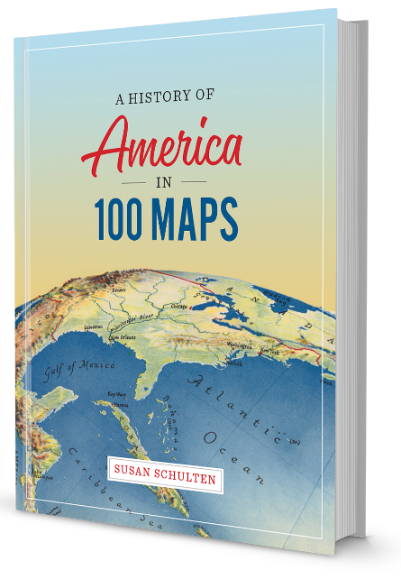 "Book cover of ""A History of America in 100 Maps"""