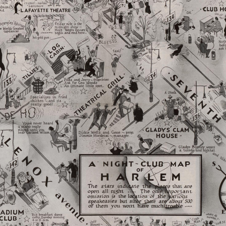 "E. Simms Campbell, ""A Night-club map of Harlem"" (1933)"